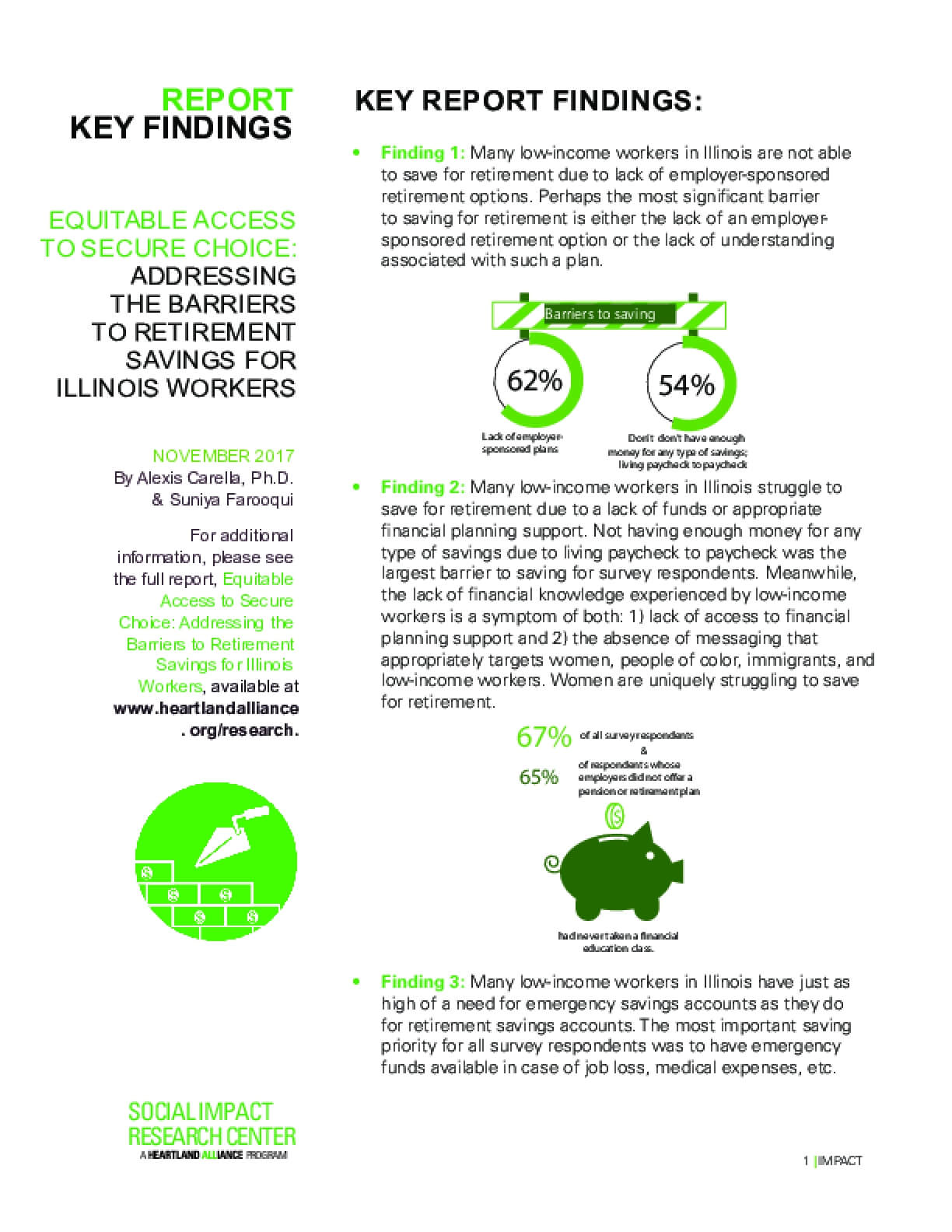 Key Findings: Equitable Access to Secure Choice - Addressing the Barriers to Retirement Savings for Illinois Workers