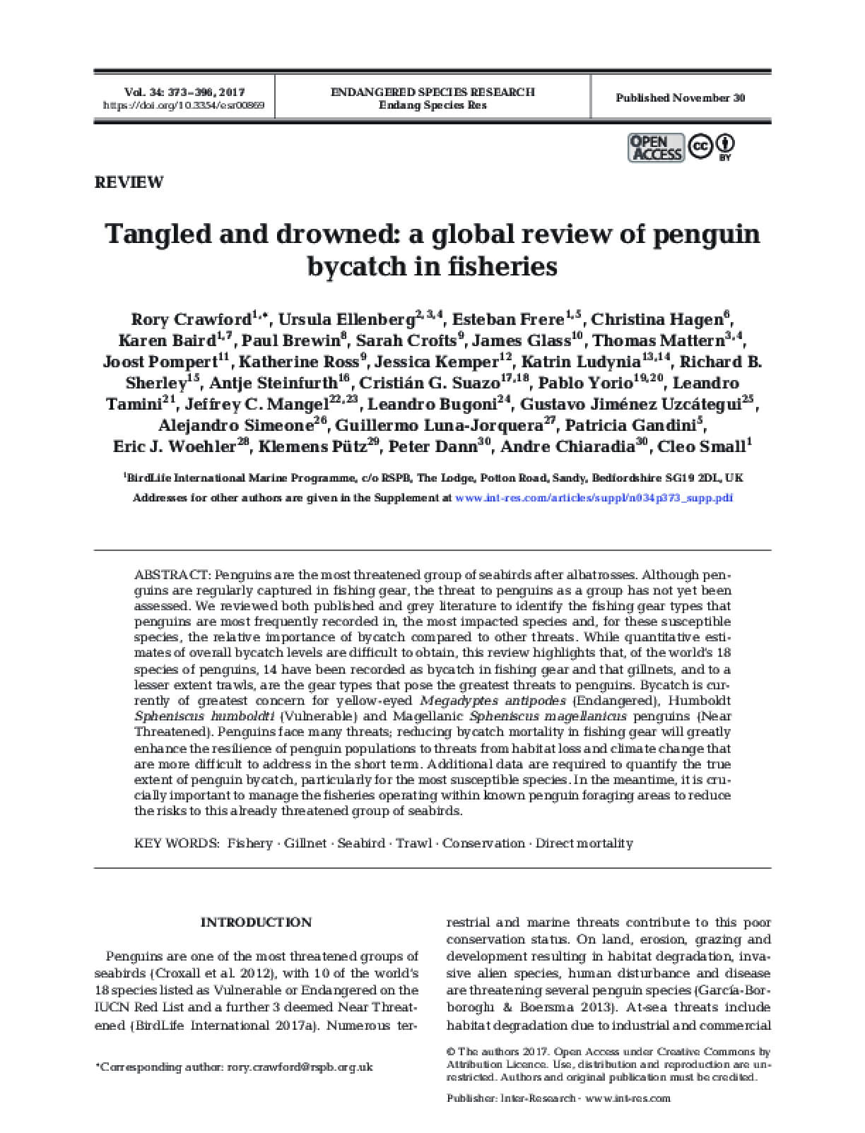 Tangled and drowned: a global review of penguin bycatch in fisheries