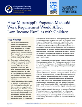 How Mississippi's Proposed Medicaid  Work Requirement Would Affect  Low-Income Families with Children