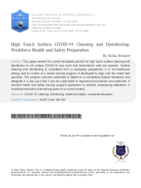 High Touch Surface COVID-19 Cleaning and Disinfecting: Workforce Health and Safety Preparation