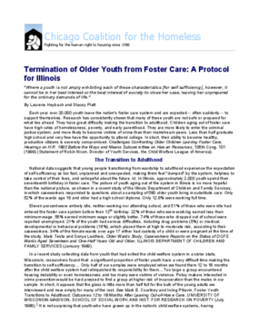 Termination of Older Youth from Foster Care: A Protocol for Illinois